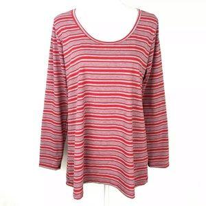 LuLaroe Red Gray Striped Long Sleeve Tee Tunic XL